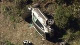 La voiture accidentée dans laquelle Tiger Woods prenait place.