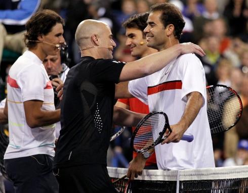 Rafael Nadal, Andre Agassi, Roger Federer et Pete Sampras