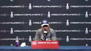 Brendan Gallagher s'adresse aux médias avant l'entraînement
