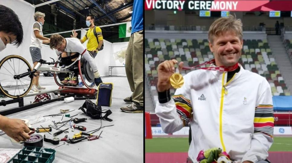 Sa chaise roulante sabotée avant la course, il la répare avec du ruban et gagne quand même l'or