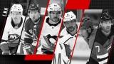 Mathew Barzal, Alexis Lafrenière, Sidney Crosby, Alex Ovechkin, Jesperi Kotkaniemi et Dougie Hamilto
