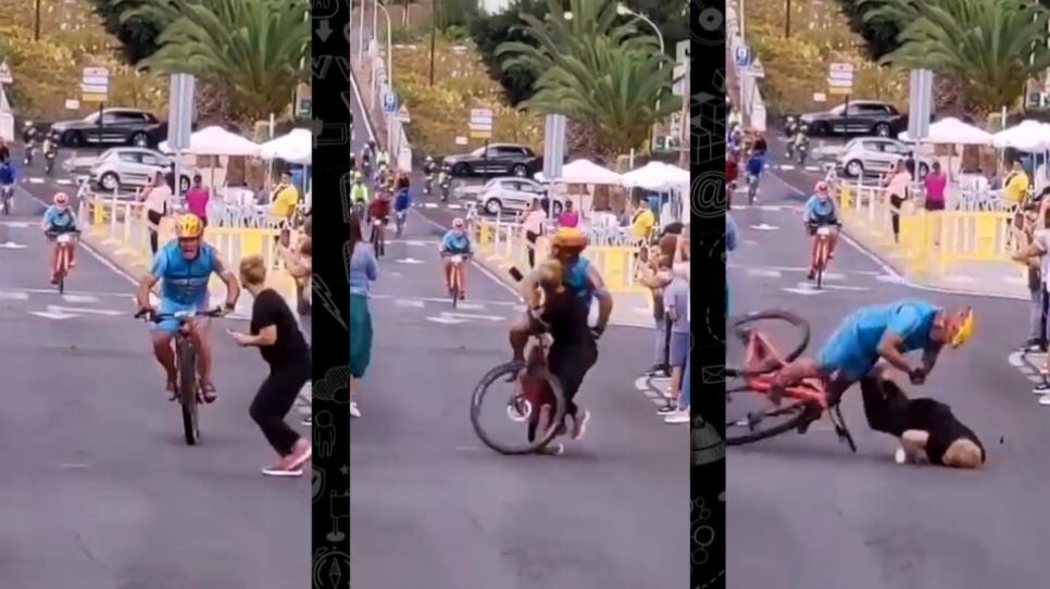 Elle traverse la rue pendant une course cycliste : erreur.