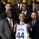 Barack Obama et les joueurs des Warriors de Golden State