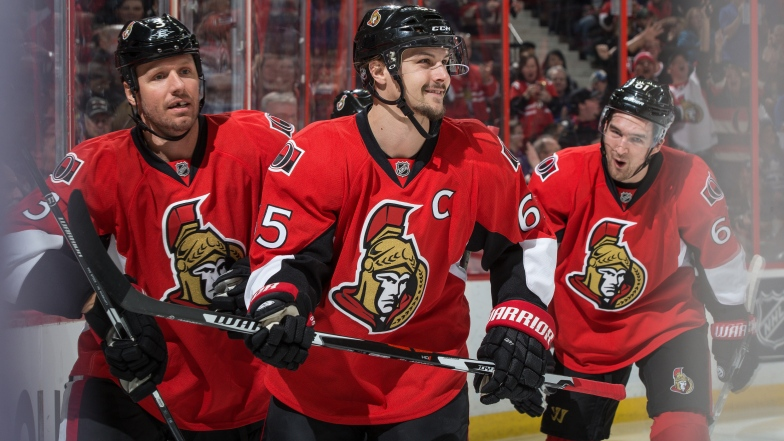 Marc Methot, Erik Karlsson et Mark Stone