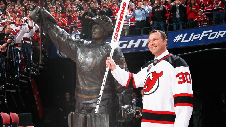 Martin Brodeur lors de la cérémonie du retrait de son numéro 30 par les Devils