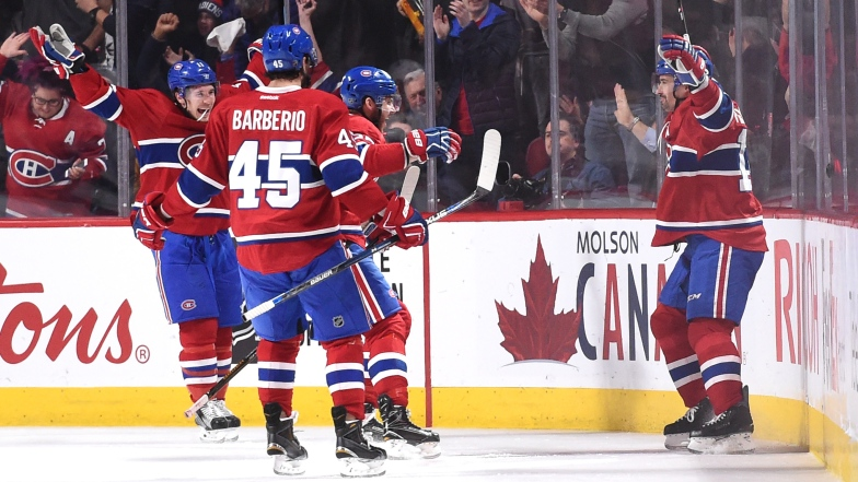 Brendan Gallagher, Mark Barberio, Alex Galchenyuk et Tomas Plekanec