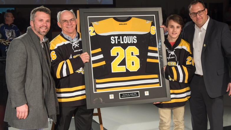Martin St-Louis, son père Normand, son fils Ryan et Christian Le Bouc