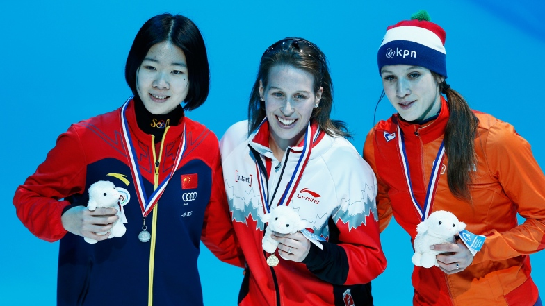 Yihan Guo, Marianne St-Gelais et Suzanne Schulting