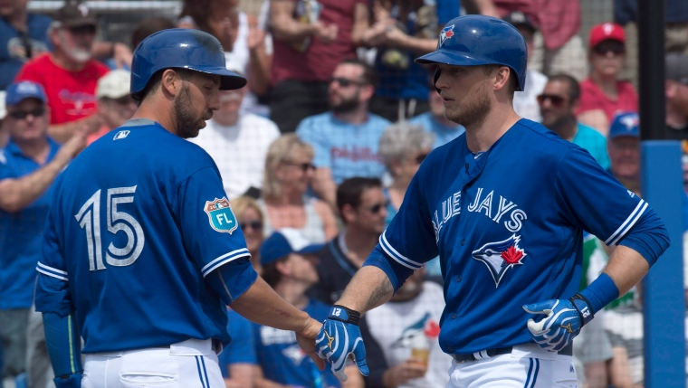 Michael Saunders et Chris Colabello