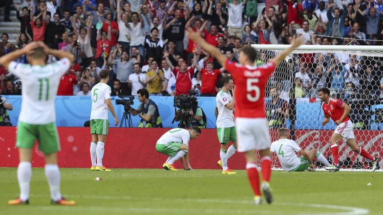 Célébrations des joueurs du Pays de Galles