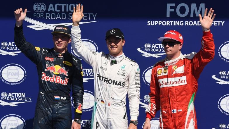 Max Verstappen, Nico Rosberg et Kimi Raïkkönen