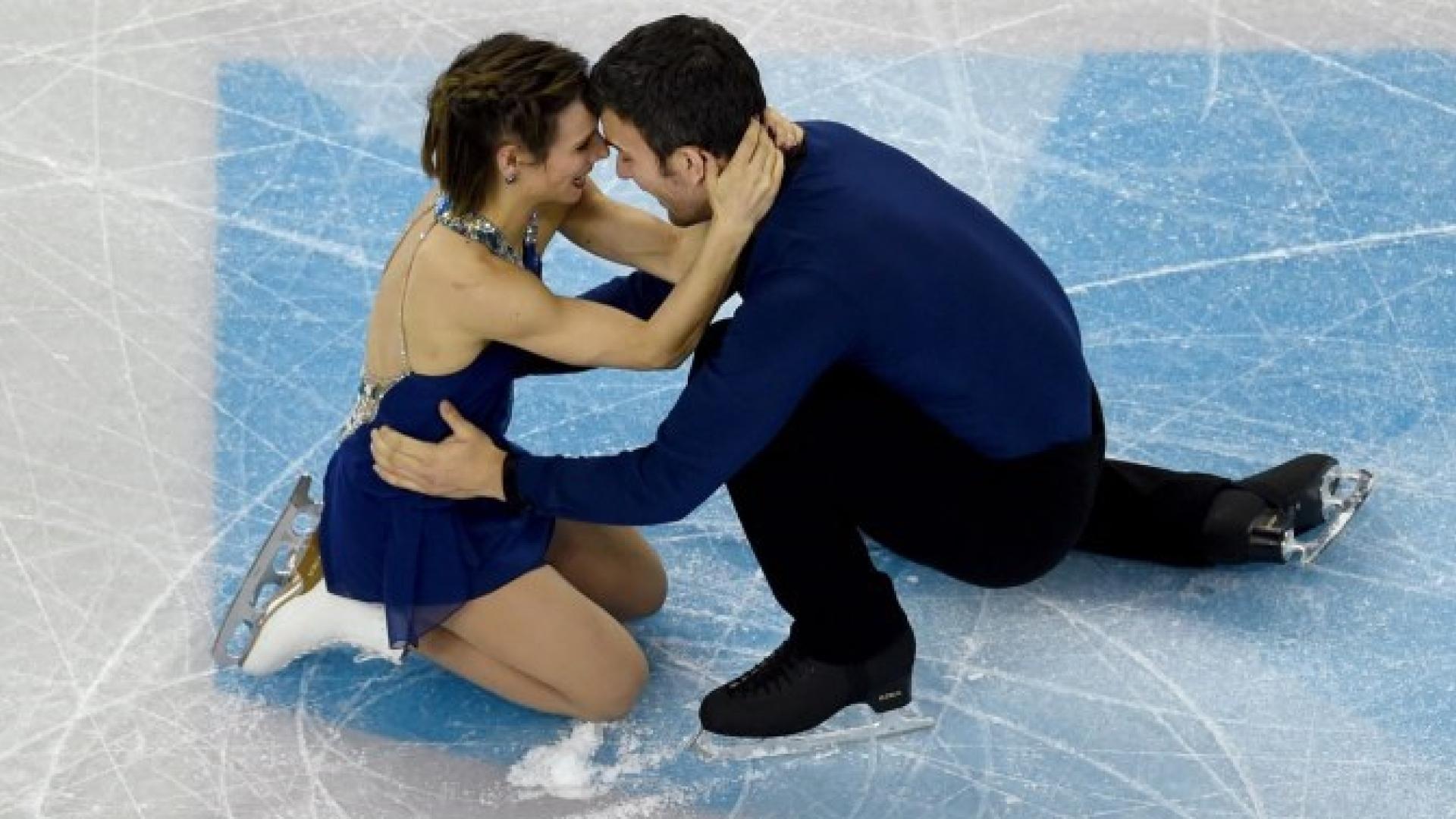 Meagan Duhamel et Eric Radford après leur programme long aux derniers championnats du monde