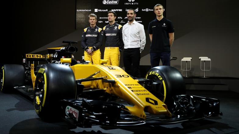 Nico Hulkenberg, Jolyon Palmer, Cyril Abiteboul et Sergey Sirotkin