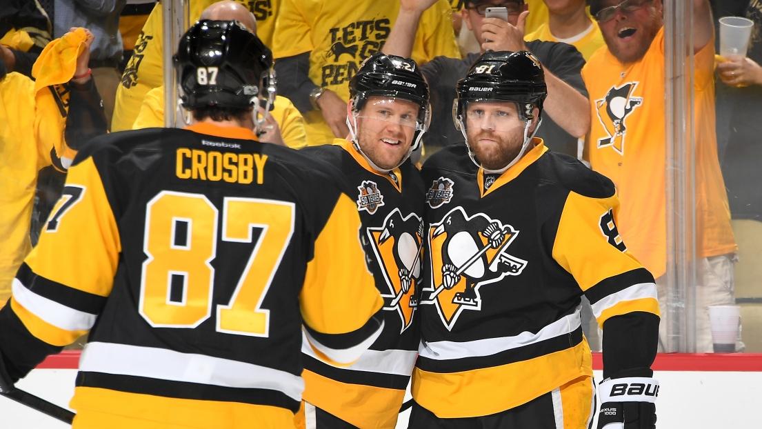 Sidney Crosby, Patric Hornqvist et Phil Kessel