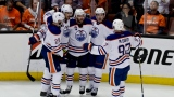 Leon Draisaitl, Oscar Klefbom, Mark Letestu, Ryan Nugent-Hopkins et Connor McDavid