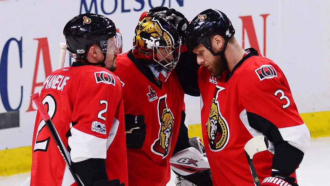 Dion Phaneuf, Craig Anderson et Marc Methot