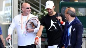Premier entraînement de Djokovic avec Agassi