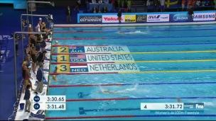Les Canadiennes au pied du podium au 4 x 100 m