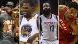 LeBron James, Kevin Durant, James Harden et DeMar DeRozan.