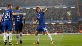 David Luiz célèbre un but de Chelsea