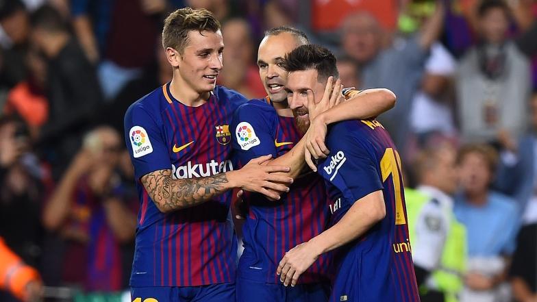 Lucas Digne, Andres Iniesta et Lionel Messi