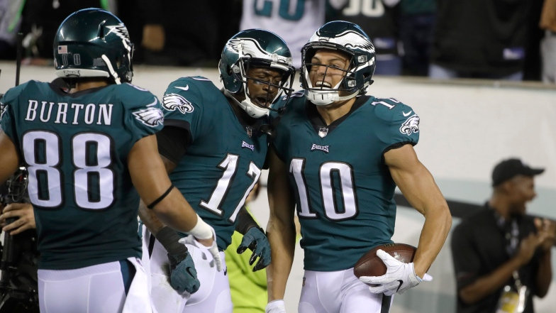Trey Burton, Alshon Jeffery et Mack Hollins