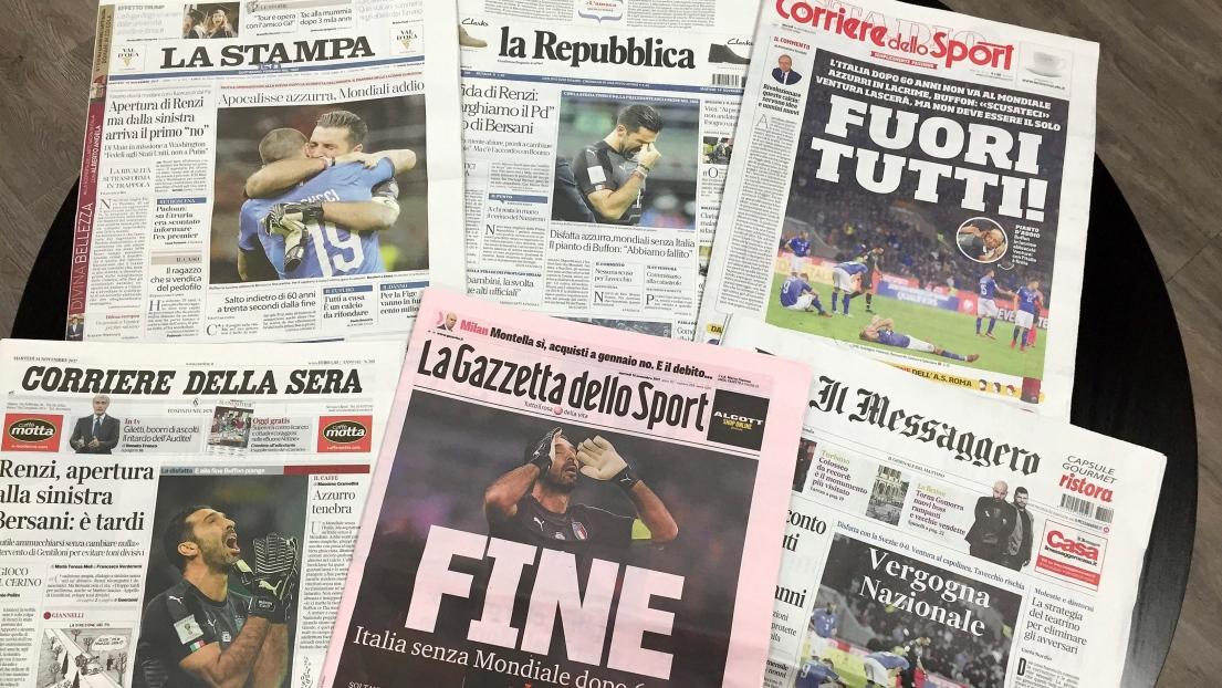 Les unes de plusieurs journaux italiens