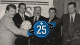 Jean Doré, Joey Saputo, Bill Sage, Lino Saputo et Pino Asaro (de gauche à droite)