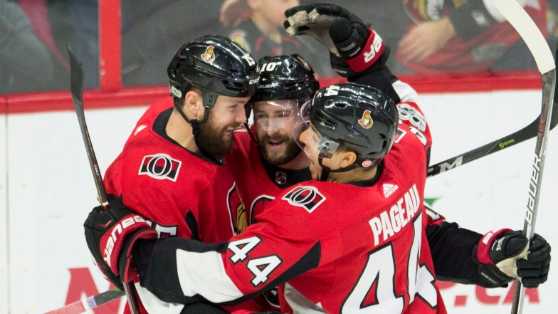 Zack Smith, Tom Pyatt et Jean-Gabriel Pageau