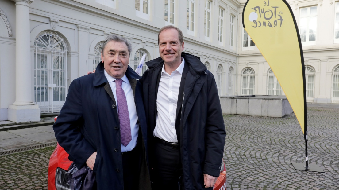 Eddy Merckx (gauche) et Christian Prudhomme