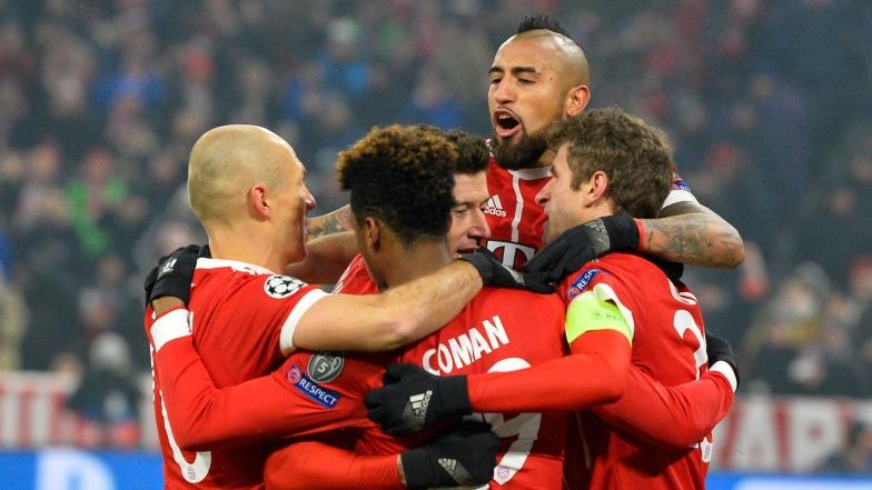 Arjen Robben, Kingsley Coman, Robert Lewandoski, Arturo Vidal et Thomas Mueller