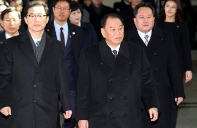Une délégation nord-coréenne à la cérémonie