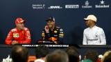 Daniel Ricciardo, Sebastian Vettel et Lewis Hamilton en conférence de presse