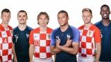 Ivan Perisic, Antoine Griezmann, Luka Modric, Kylian Mbappé, Ivan Rakitic et Paul Pogba