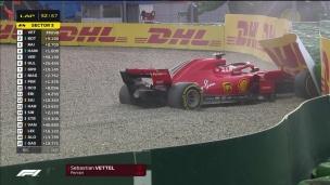 La catastrophe pour Vettel qui termine dans le mur!