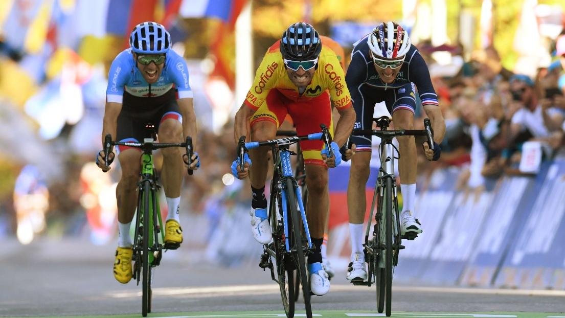 VIDÉO | Alejandro Valverde remporte le maillot arc-en-ciel à 38 ans