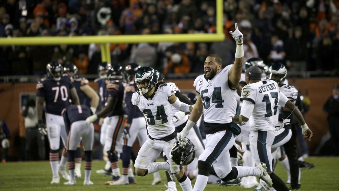 Célébrations des Eagles après le botté raté