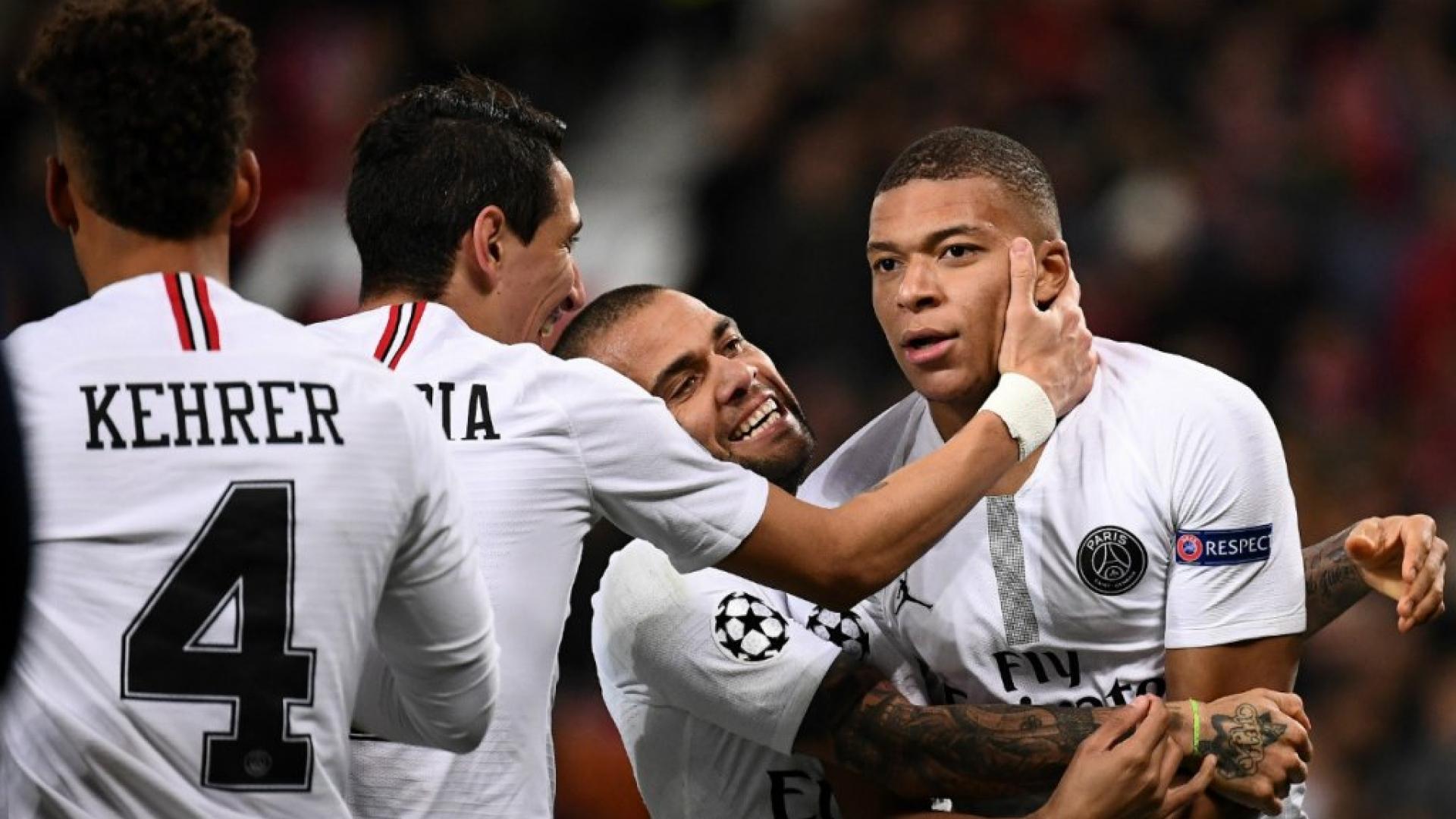 Mbappé célèbre son but face à Manchester United