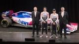Andrew Green, Lance Stroll, Sergio Perez et Otmar Szafnauer