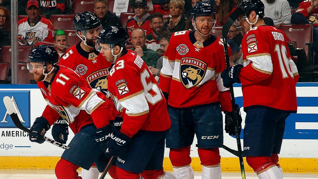 Les Panthers célèbrent un but de Jonathan Huberdeau