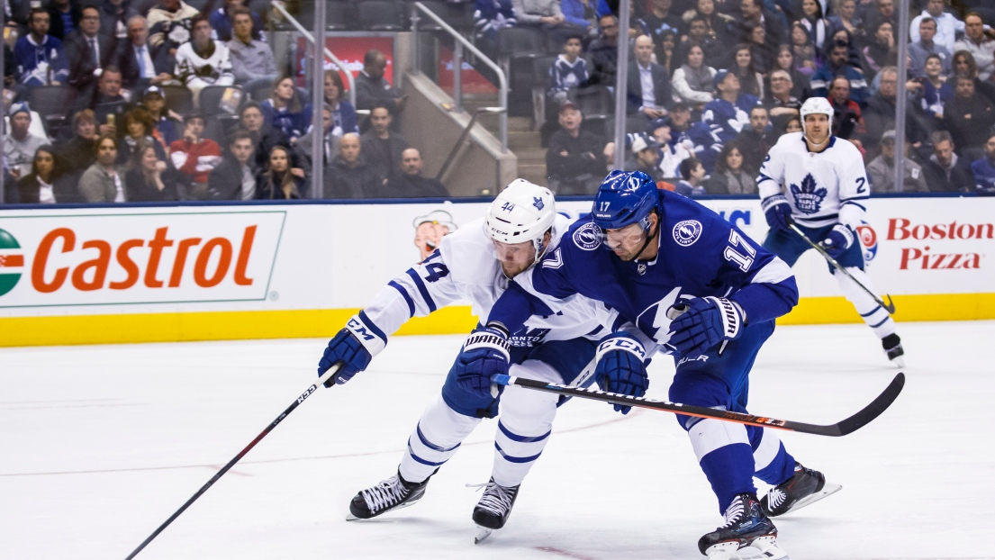 Morgan Rielly et Alex Killorn