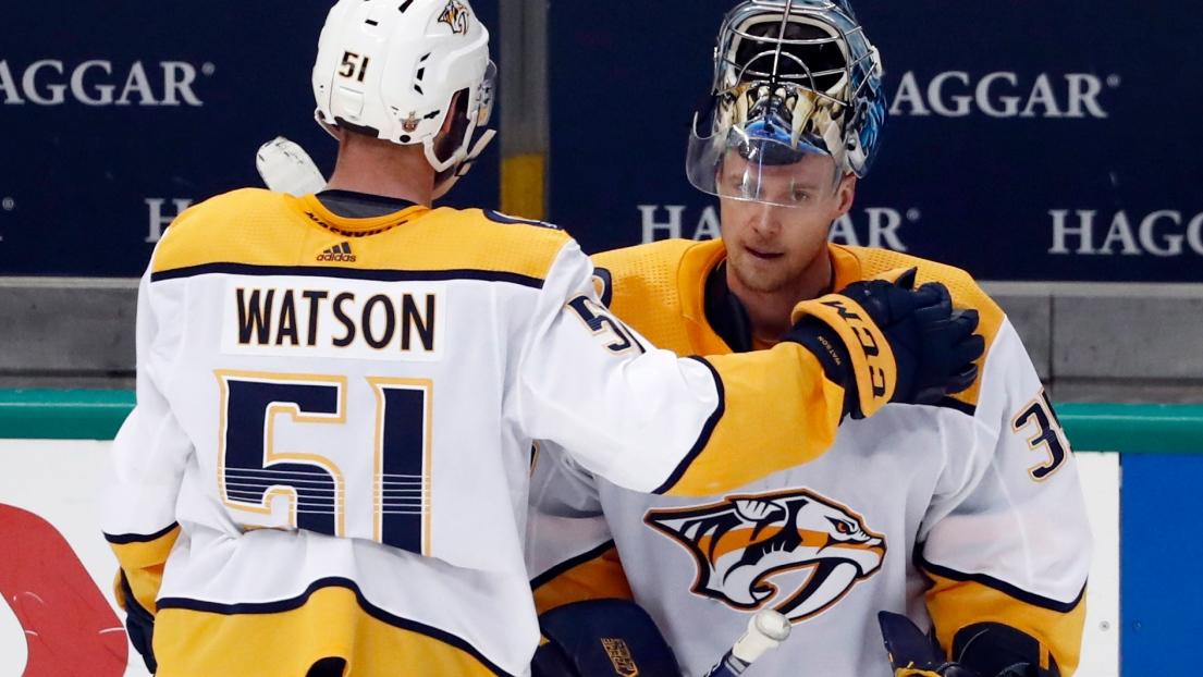 Austin Watson et Pekka Rinne