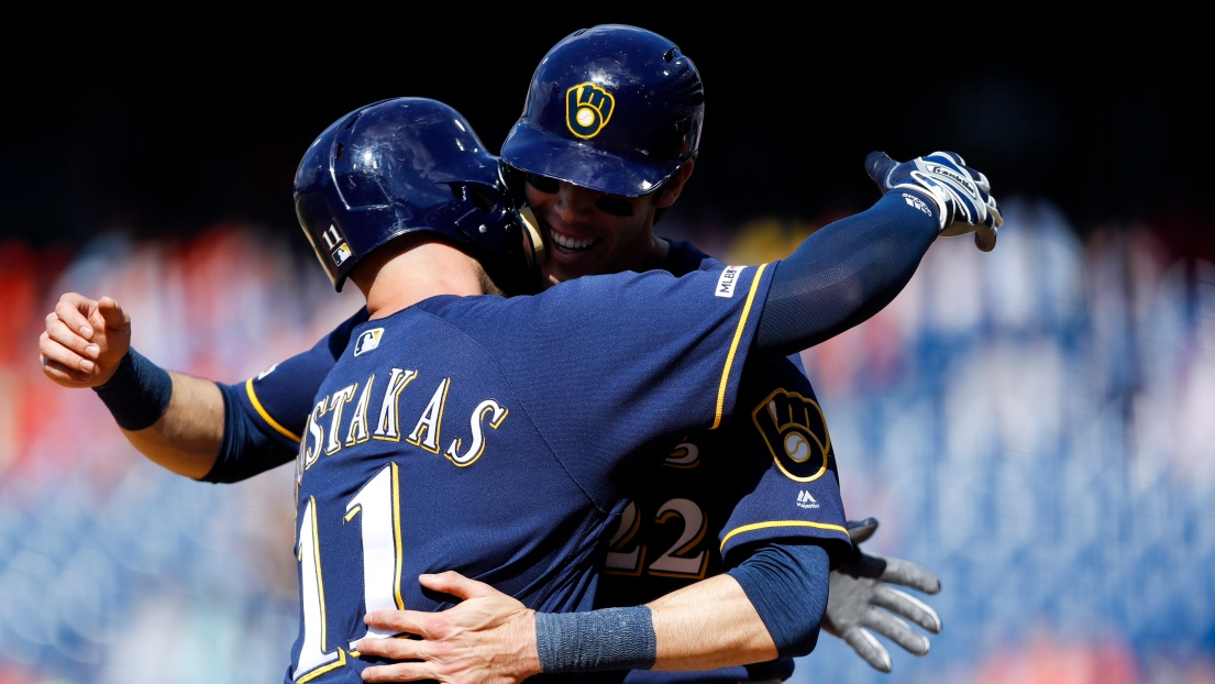 Mike Moustakas et Christian Yelich
