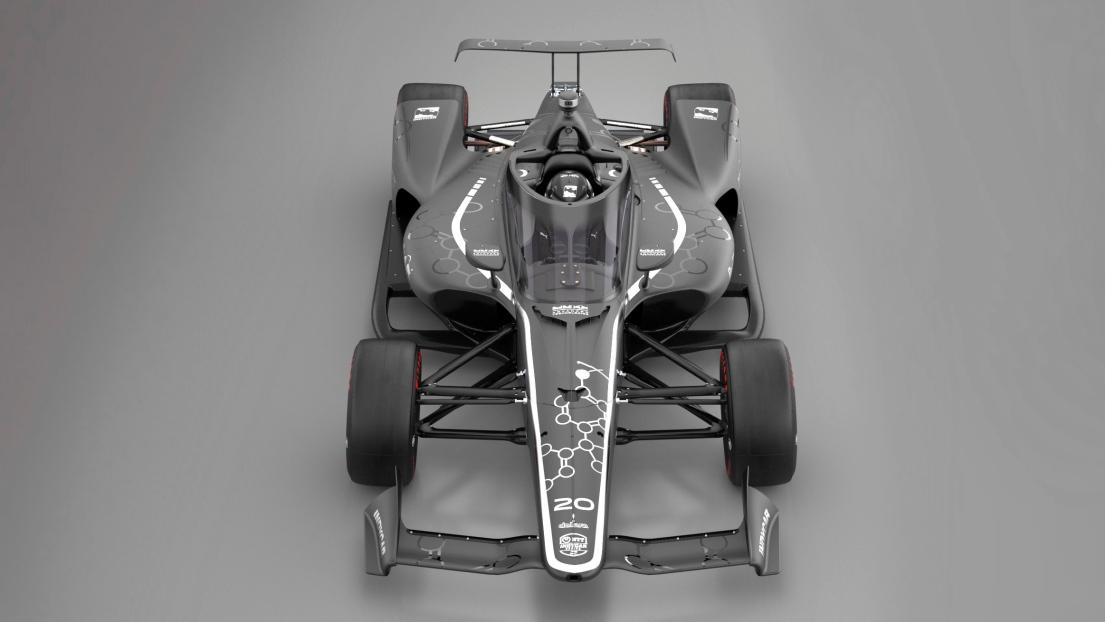 Un bolide IndyCar muni de l'Aeroscreen.