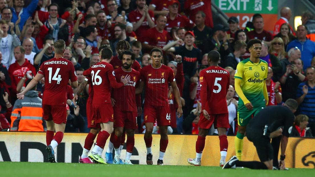Liverpool célèbre un but face à Norwich
