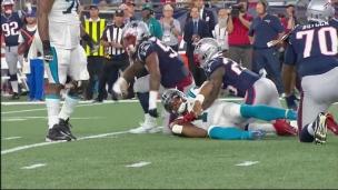 Cam Newton se blesse sur un sac