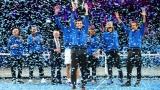 L'équipe Europe célèbre sa victoire à la Coupe Laver