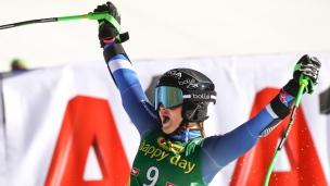 Une 1re victoire en Slalom Géant à 17 ans
