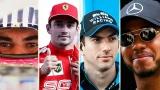 Lance Stroll, Charles Leclerc, Nicholas Latifi et Lewis Hamilton