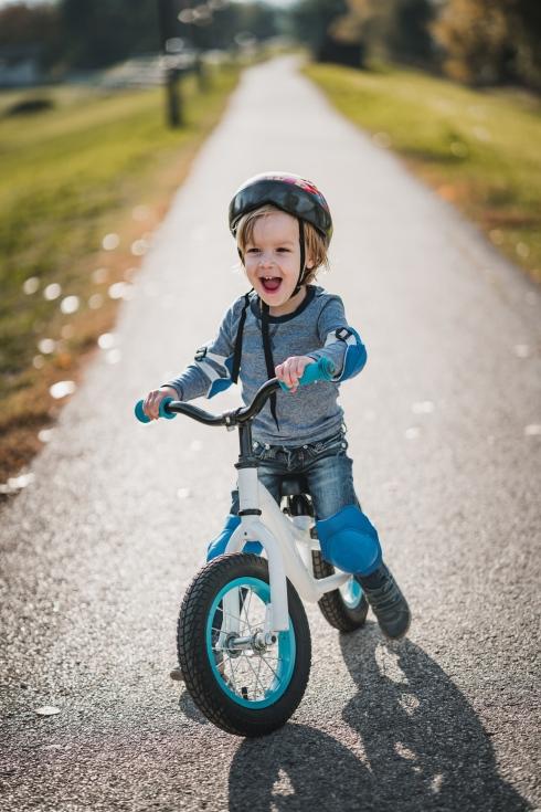 pushing bike